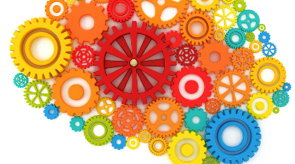 Colourful cogs and wheels