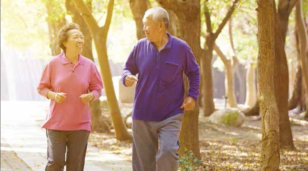 Elderly Japanese couple jogging through trees