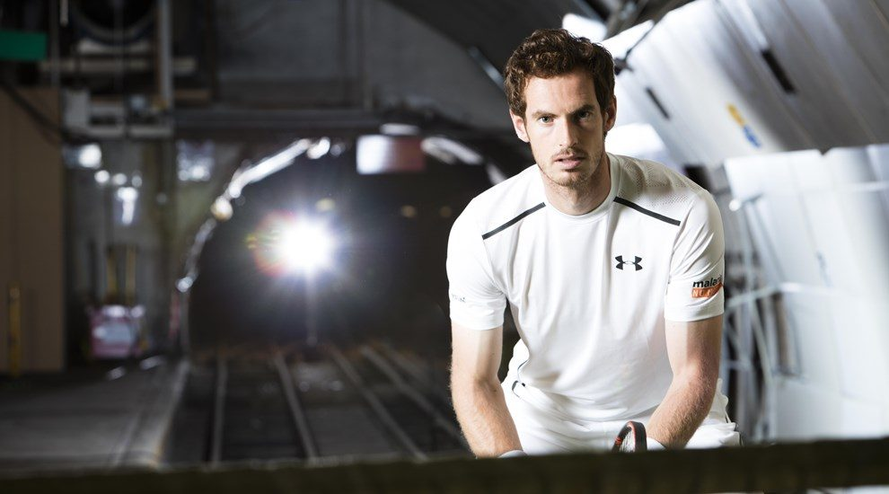 Andy Murray in tennis gear looking at camera