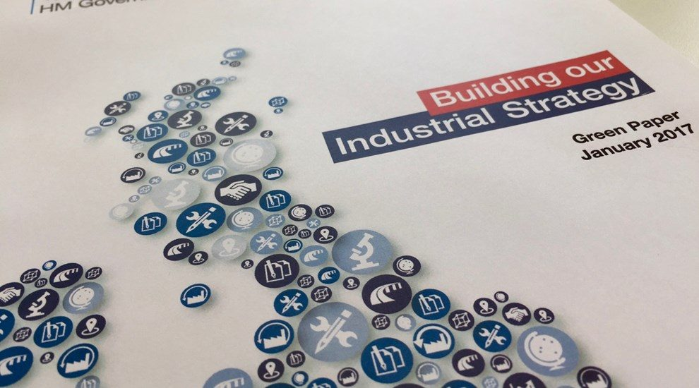 Photo of Green Paper cover titled Building our Industrial Strategy