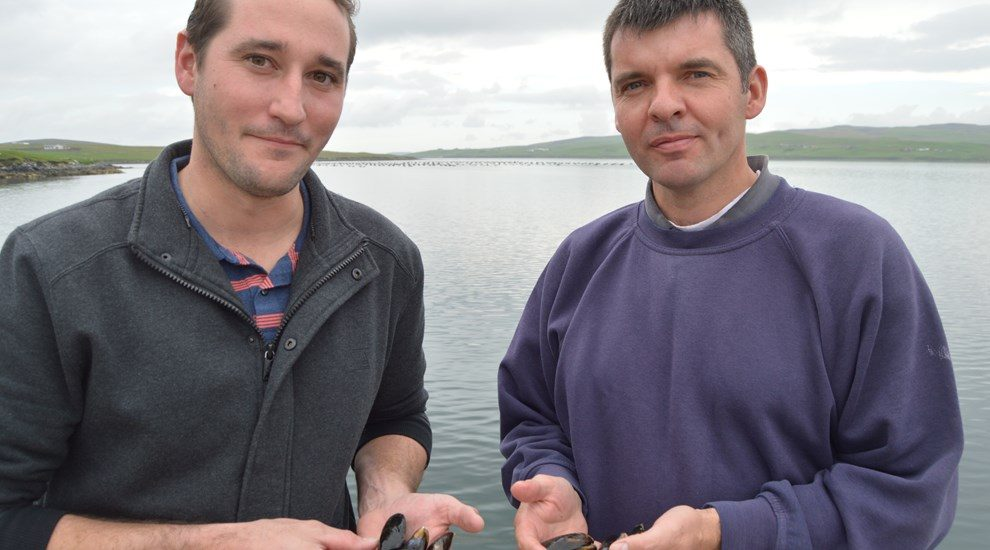 Two men holding mussels in front of sea